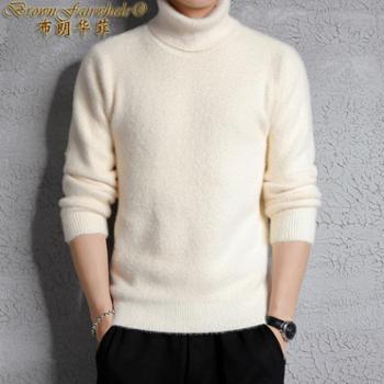 布朗华菲 新款男士高领长袖毛衣纯色针织衫A01