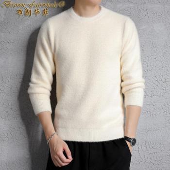 布朗华菲 新款男士长袖针织衫纯色圆领休闲毛衣A02