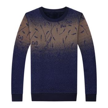 布朗华菲 男士圆领长袖T恤加绒加厚保暖针织衫152