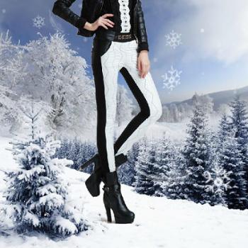 冬日加绒加厚裤子女品牌打底秋冬季外穿显瘦黑白色保暖棉裤