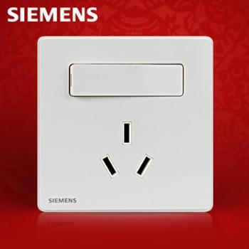 西门子开关插座睿致系列象牙白16A三孔带开关插座空调插座