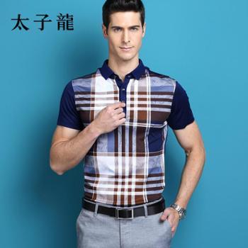 太子龙格子POLO衫短袖T恤YW2X1AW084