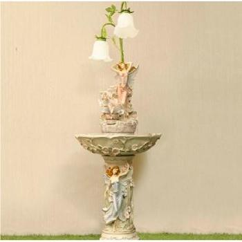 源泉家居跳舞天使落地欧式流水喷泉装饰摆件水景水情新房礼品