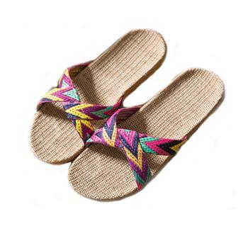 亚麻拖鞋 夏季室内地板防滑居家凉拖