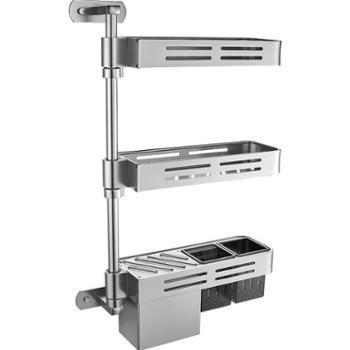 JOMOO九牧厨房置物架 三层转角挂件筷筒刀架 厨房打孔置物架挂件94219