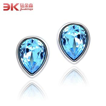 钻金森人造水晶耳钉时尚蓝水滴耳饰品
