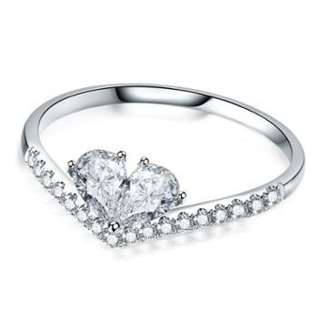 时尚925纯银爱心戒指 活口可调节皇冠戒指尾戒气质可爱指环包邮