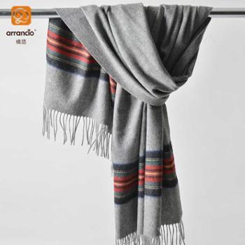橘语新款特色礼品内蒙古纯羊毛彩色条纹时尚办公室秋冬季披肩围巾