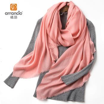 橘语羊毛绒真丝礼盒装纯色气质披肩围巾春季女薄