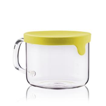 sohome高硼硅玻璃硅胶盖多用碗泡面碗带盖便当盒高温饭盒圆形把手950ML