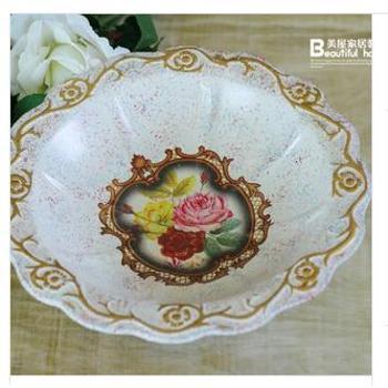 美屋家居欧式陶瓷工艺品宫廷风彩绘陶瓷大水果盘装饰摆件 GP02602