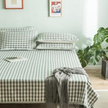 【知麻坊】亚麻小方格床单枕巾三件套(180*210cm)