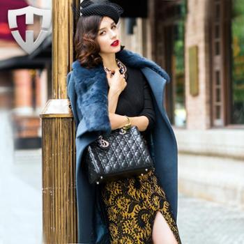 MW轻奢名品2014冬装新款超大牌纯羊毛呢大衣女士毛呢外套女
