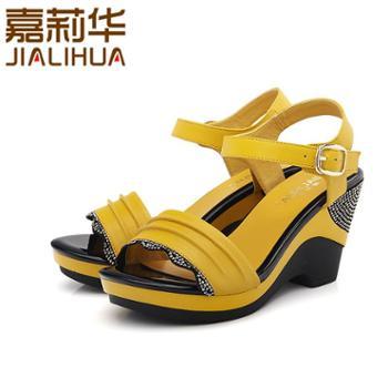 嘉莉华新款春季凉鞋休闲女凉鞋真皮高跟舒适凉鞋女JBG41316