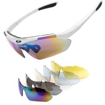 砾石(Thiseson)骑行镜男女太阳镜山地车运动眼镜防风沙偏光带近视框5组镜片