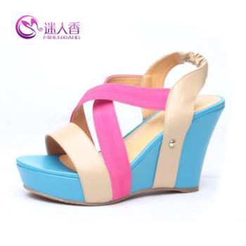 迷人香夏季品牌促销 新款时尚经典高坡跟拼色凉鞋 高档真皮女鞋
