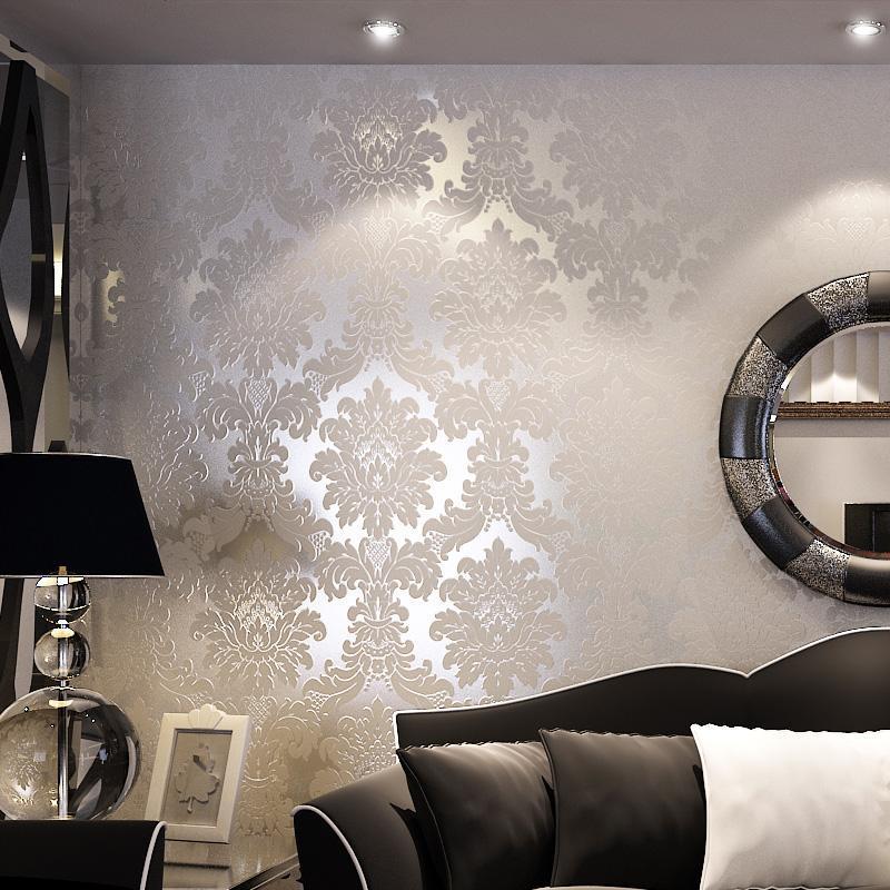 t纸尚美学 欧式 大马士革 客厅壁纸 电视墙背景墙a12011植绒墙纸