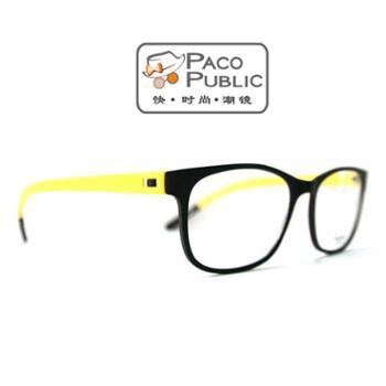 PACO时尚拼色眼镜架眼镜框近视男女款潮流装饰板材眼镜框赠1.56非球面镜片