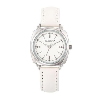 SNOOPY史努比手表 皮带水钻石英女表SNW751EC-2535WH银色