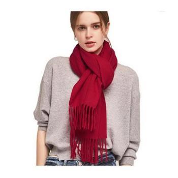 绒之尚语羊毛围巾女冬季纯色加厚长款围脖-58