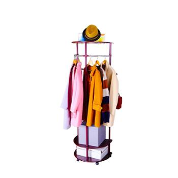 宝优妮三层木板衣帽架DQ-0816胡桃木色
