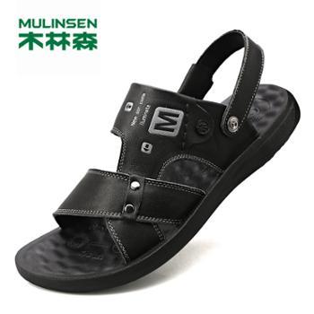 木林森男士真皮夏季款休闲两用外穿牛皮凉拖鞋