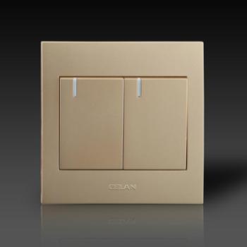 gelan开关插座面板G3-122二开双控开关16A250V金色