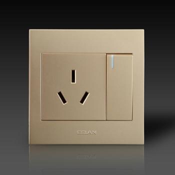gelan开关G3-313一开三插插座一开三孔插座 单控(金色)