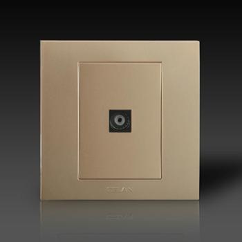 gelan开关插座面板G3-501电视终端插座(金色)