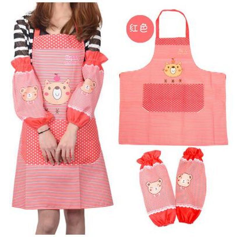 韩版厨房 防油 卡通可爱袖套 长袖 防水围裙罩衣套装 家居围裙套装