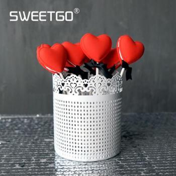 蕾丝花边装饰器皿白色铁皮桶婚庆道具棒棒糖罐婚礼甜品台摆件