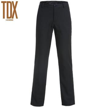 TDX春秋季男装 男士商务休闲裤双层加厚保暖裤子 中年男装修身褐色长裤