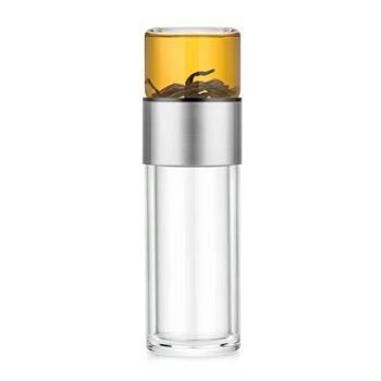 尚明C009不锈钢环茶水分离水杯耐热双层玻璃泡茶杯办公随手杯