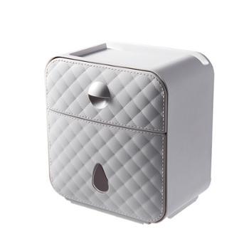三清花多功能仿皮纹免打孔收纳盒抽纸盒