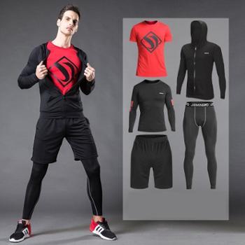 运动套装健身服男套装夏新款跑步篮球运动训练服健身房紧身速干衣二三四五件套 7137