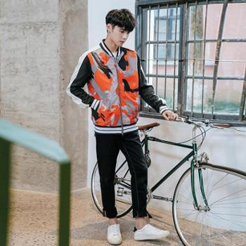 永豹(yongBao)2019春秋新款迷彩男夹克帅气修身青年高中生学生外套潮流