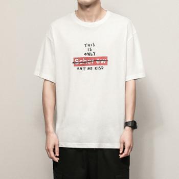 依采奴 男士夏季新款潮流纯色印花体恤衫