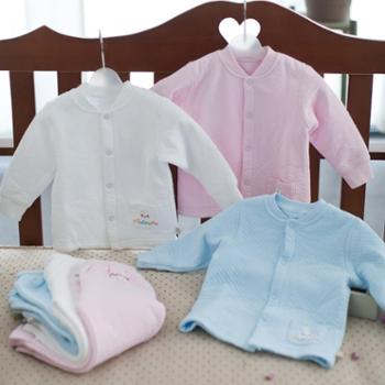海绵泡泡婴儿衣服冬装新生儿宝宝内衣纯棉保暖前开扣套装加厚全棉婴儿服