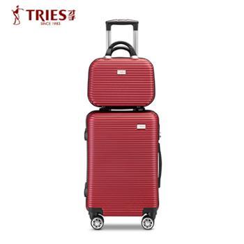 才子高端商务旅行登机拉杆箱子母箱包Z66酒红色20寸