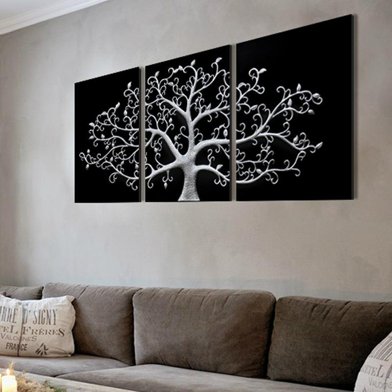 黑白手绘墙画树
