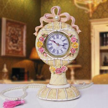欧式田园手工座钟创意时钟摆设新房装饰卧室台钟家装艺术钟表特价