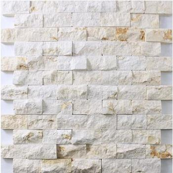 进口米黄石材 大理石马赛克电视背景墙 文化石