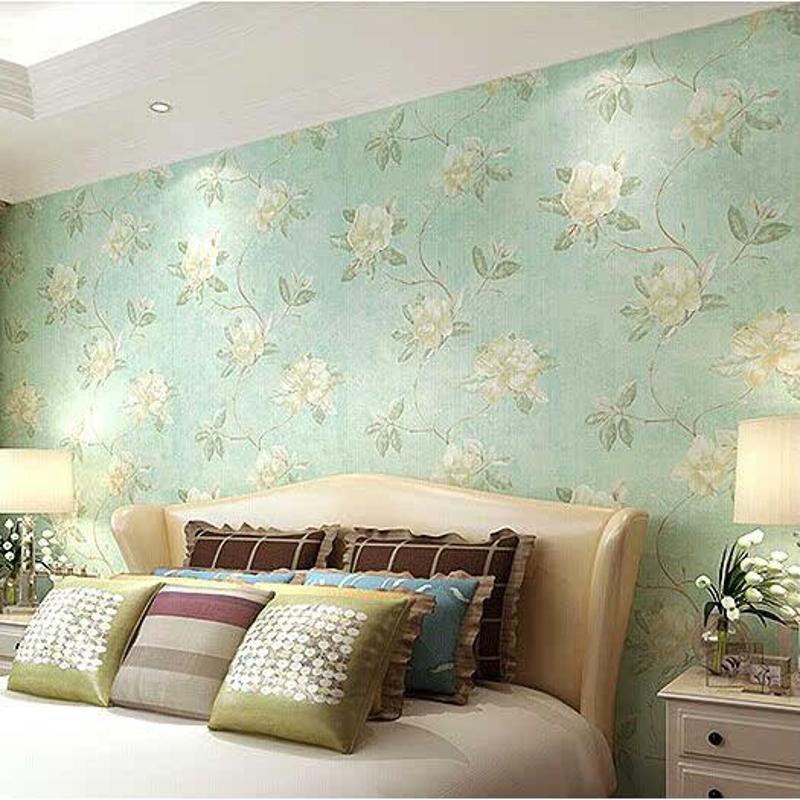 百信墙纸美式纱线复古绿温馨田园大花卧室壁纸沙发电视背景墙j