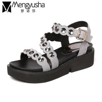 夏季女士平底厚底罗马坡跟女装坡跟女式大码凉鞋