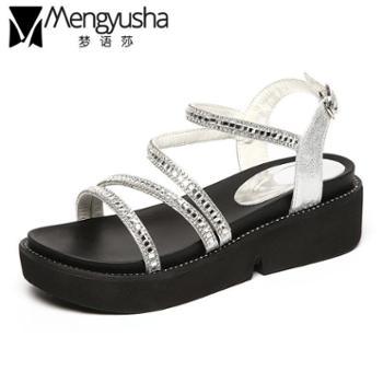 梦语莎夏季新款韩版学生厚底松糕水钻中跟坡跟平底一字带女凉鞋子