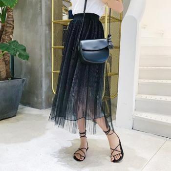 SOBO春季新款双层网纱裙蓬蓬半身裙中长款韩版亮色显瘦裙子B071