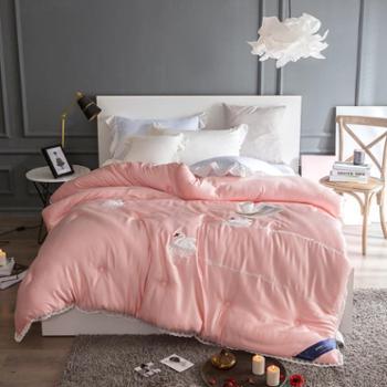 罗莱雅新款天鹅湖莫代尔刺绣冬被羽绒被芯丝棉被子纯色冬被芯被子