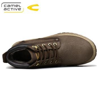骆驼动感户外工装靴牛皮冬复古加绒短靴男靴子大头男士皮靴18220
