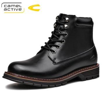 骆驼动感高帮皮靴男保暖棉靴户外防滑工装靴复古男士马丁靴18232