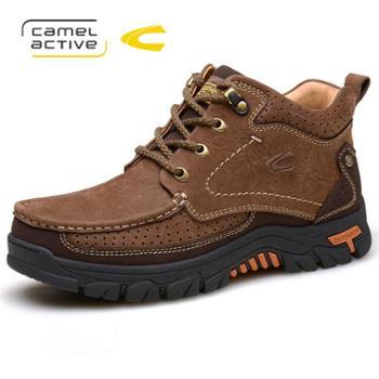 骆驼动感户外靴男冬加绒牛皮男靴子高帮棉鞋保暖防滑短靴A6661
